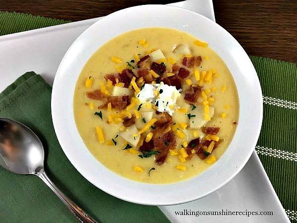 Dinner is ready in 30 minutes with this easy potato soup recipe that's better than Panera from Walking on Sunshine.