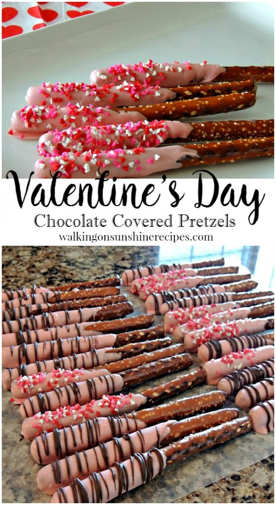 Recipe: Valentine's Day Chocolate Covered Pretzels from Walking on Sunshine.