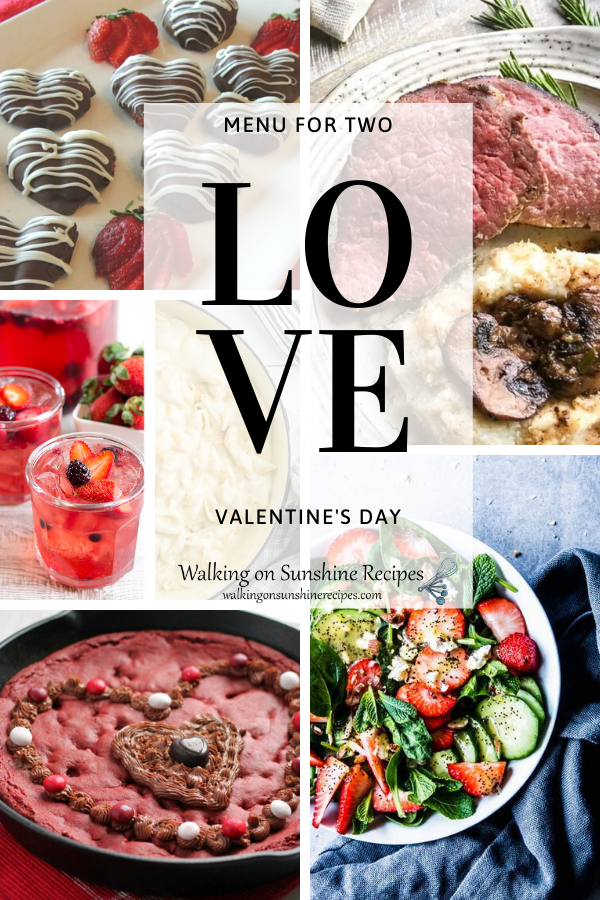 a complete menu perfect for two on Valentine's Day.