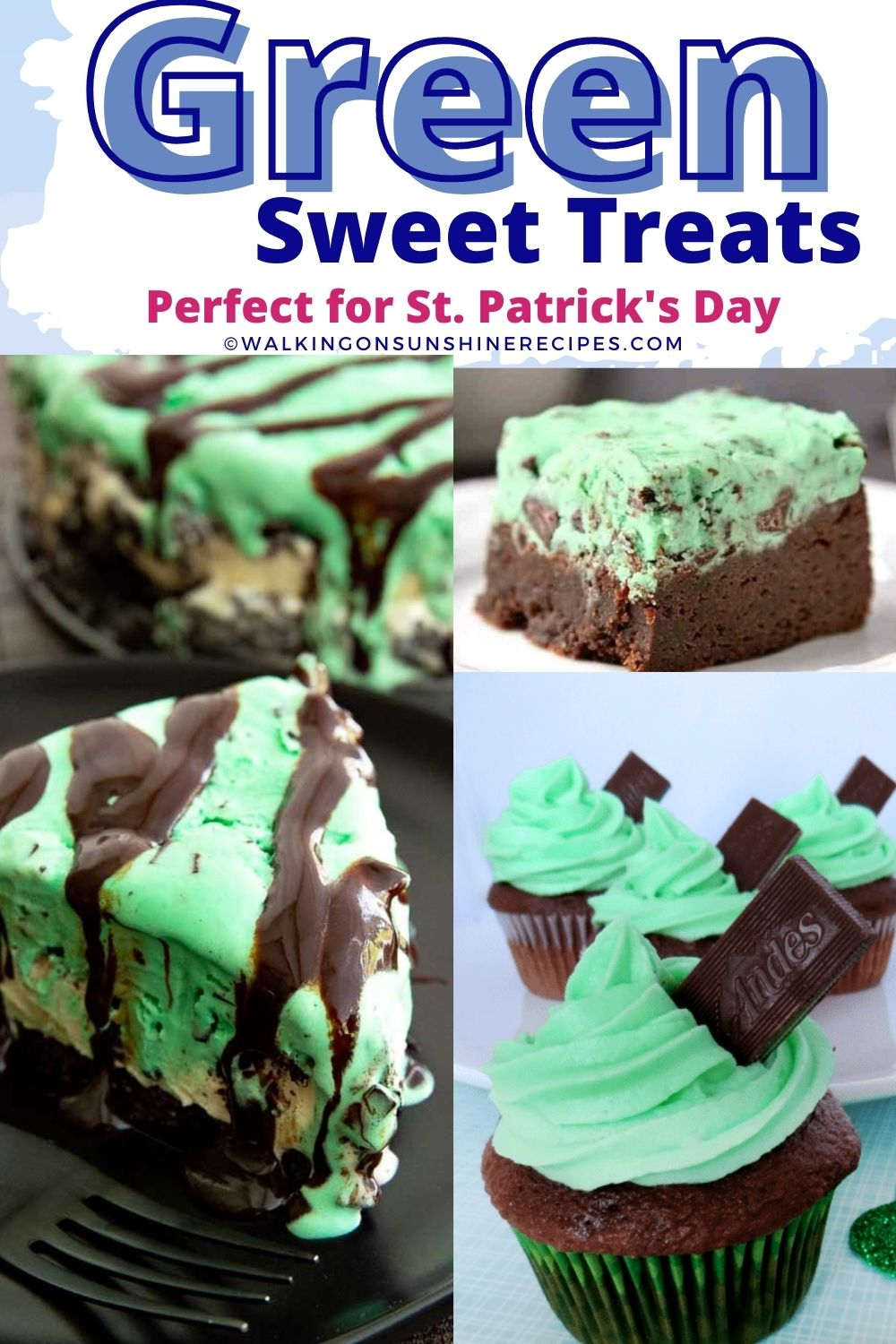 Green mint pie, brownies and cupcakes