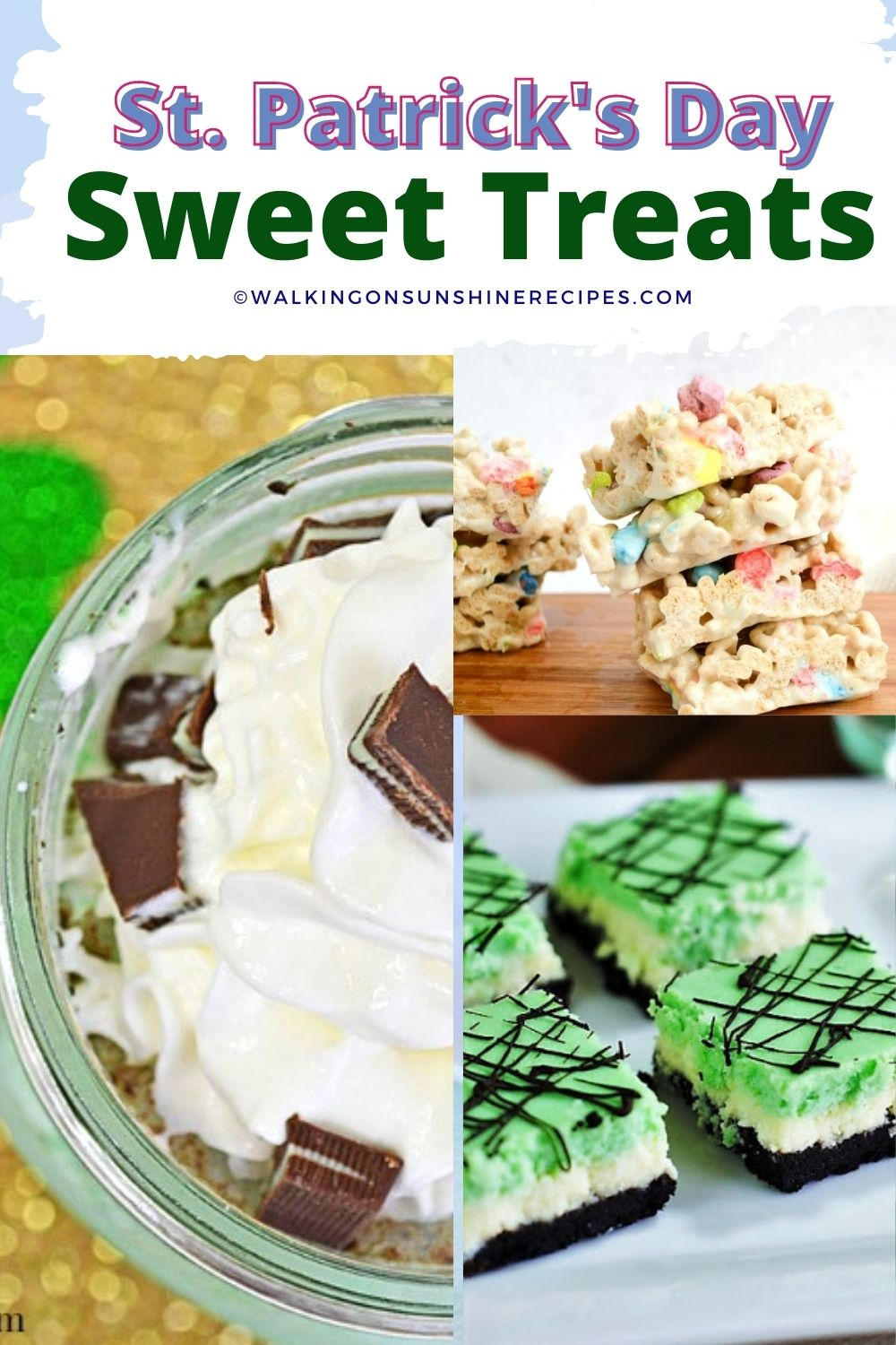 Mint candy bars, soda and brownies.