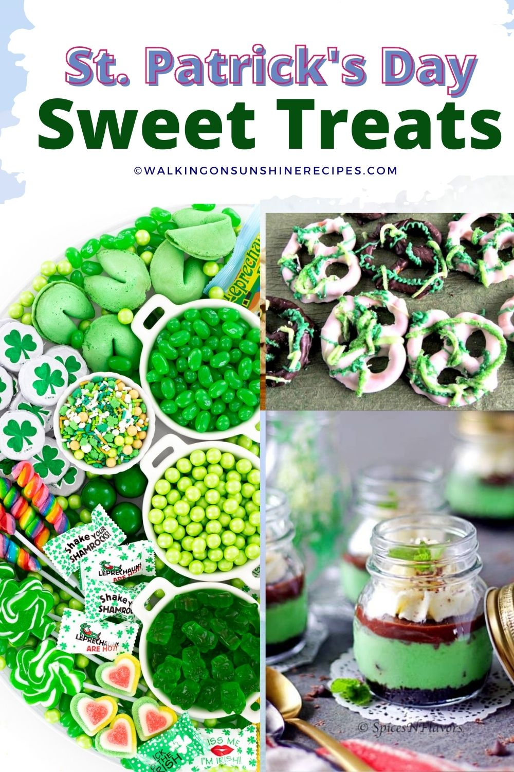 Green candy, sweets and treats.