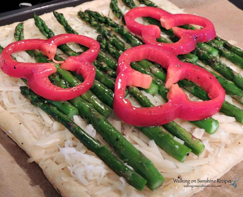 Asparagus and Cheese Puff Pastry Tart from Walking on Sunshine before baking