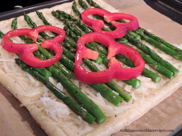 Asparagus and Cheese Puff Pastry Tart before baking from Walking on Sunshine.