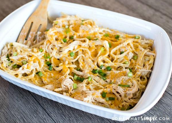 Chicken Fettucine Casserole from Somewhat Simple