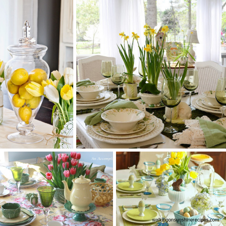 Easter Table Settings and Centerpiece Ideas with lemons, daffodils and tulips.