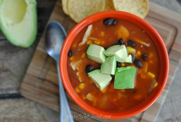 Easy Chicken Enchilada Soup from She Saved