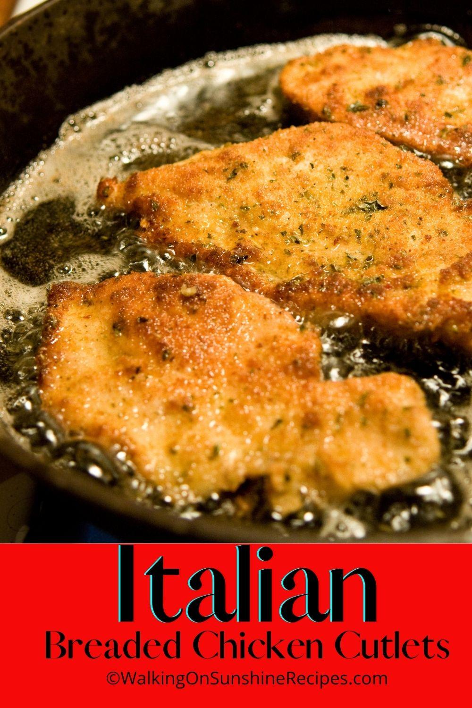 fried chicken cutlets in heavy cast iron skillet.