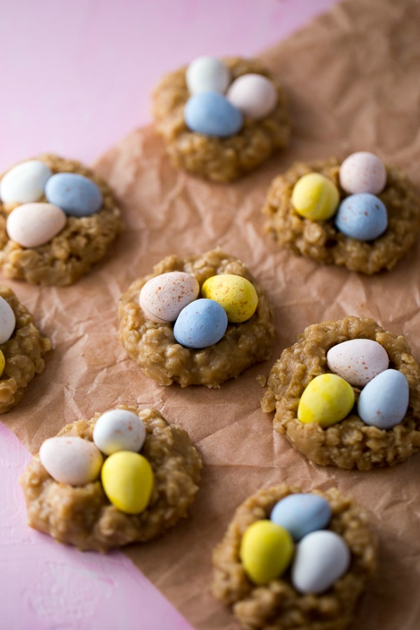 No Bake Peanut Butter Nest Cookies from Dear Crissy