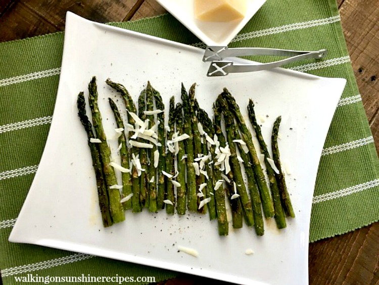 Roasted Asparagus on White Platter with Parmesan Cheese from Walking on Sunshine