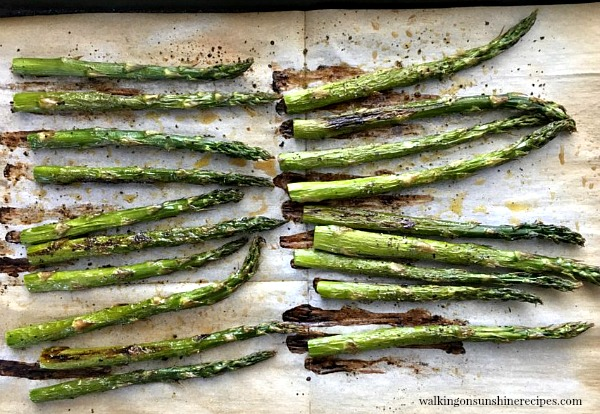 Roasted Asparagus fresh from the oven from Walking on Sunshine