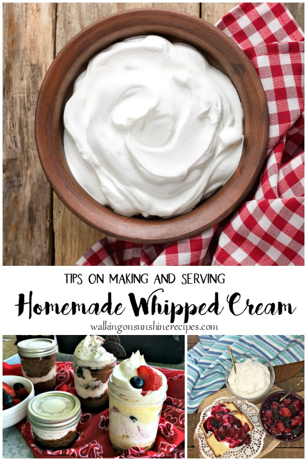 homemade whipped cream in bowl with red gingham napkin.