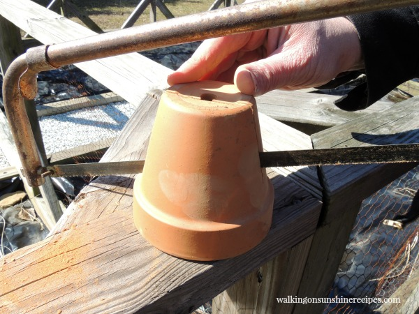 Using a hacksaw cut the small clay pot in half for the Resurrection Garden from Walking on Sunshine