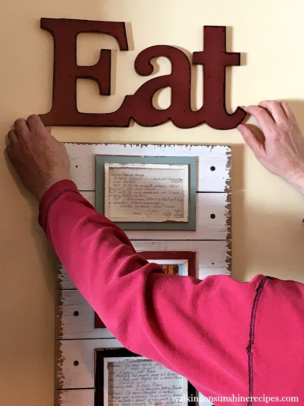 Eat sign with Old Family Recipe Cards as kitchen art from Walking on Sunshine