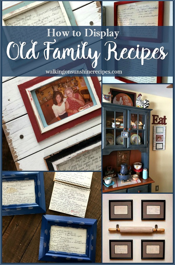 How to Display Old Family Recipe Cards by framing them as kitchen art for your home from Walking on Sunshine.