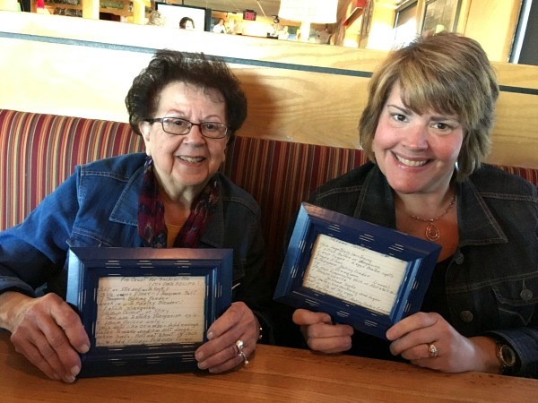 Mom and Liz with their Framed Recipe Card Photos from Walking on Sunshine