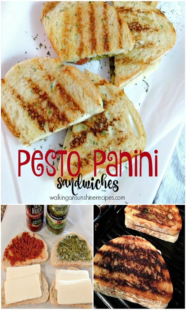 Grilled Pesto Panini Sandwiches are a delicious way to enjoy a childhood favorite sandwich from Walking on Sunshine Recipes.