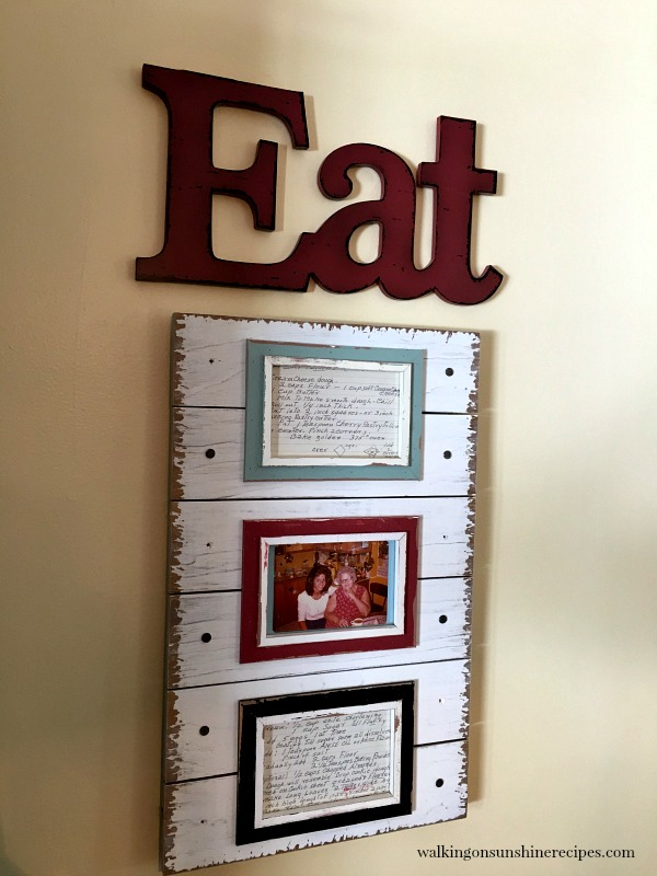 Old Family Recipe Cards is a great way to display kitchen art from Walking on Sunshine.