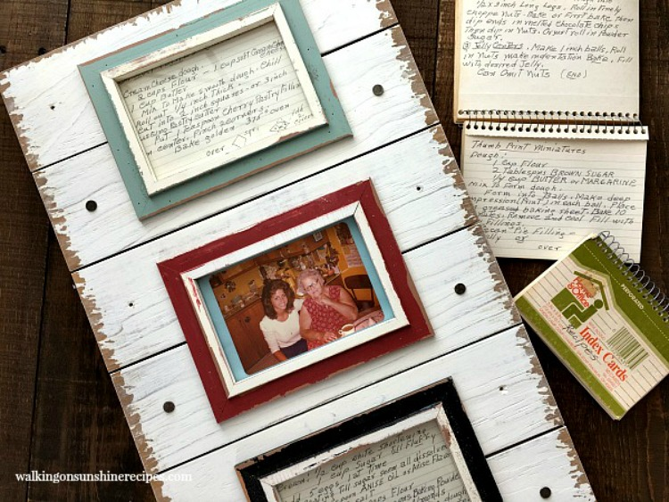 How to turn Old Family Recipe Cards into Kitchen Art from Walking on Sunshine Recipes