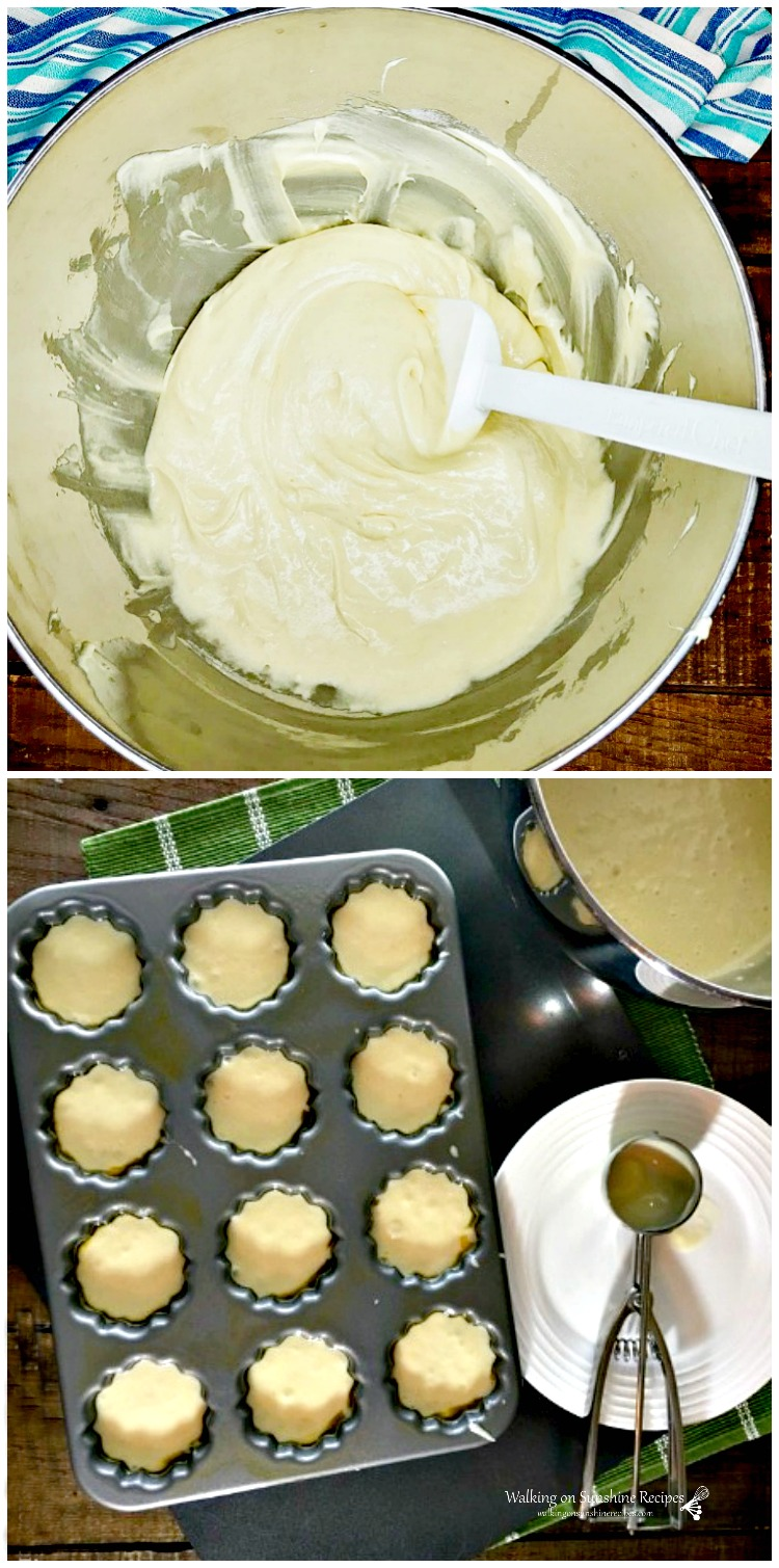 Vanilla Cake Mix batter in bowl and in mini bundtcake pan