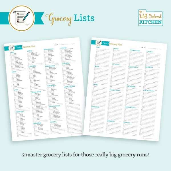 Printable Grocery Lists from The Well Ordered Kitchen Planner.
