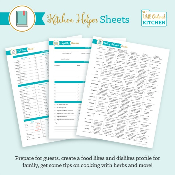 Kitchen Helper Sheets from The Well Ordered Kitchen Planner.