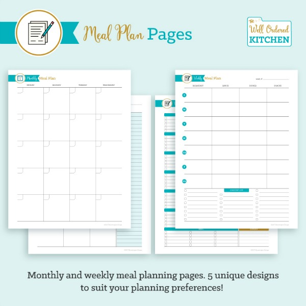 Meal Plan Pages from The Well Ordered Kitchen Planner.