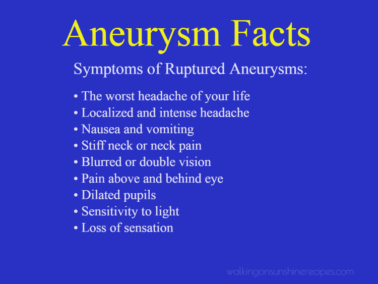 Symptoms of ruptured aneurysms.