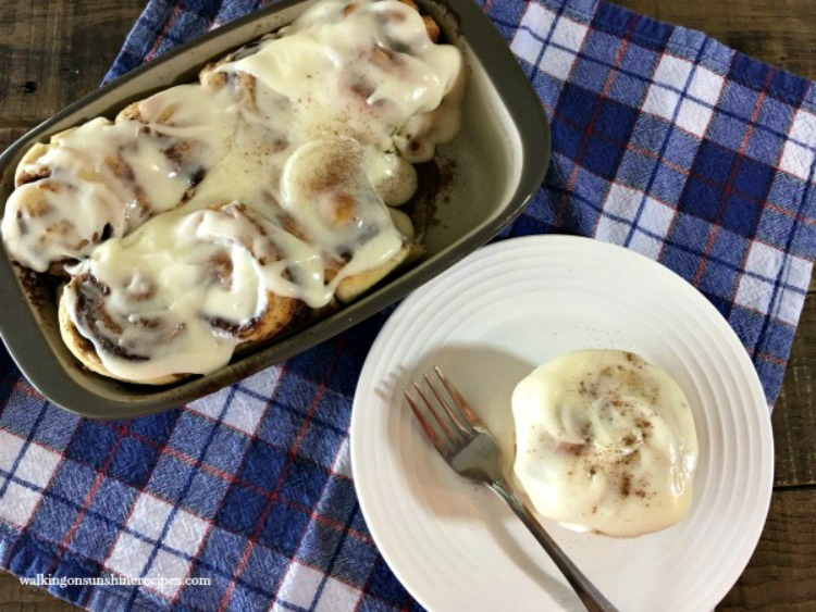 Cinnamon Rolls from Frozen Bread Dough plated from Walking on Sunshine
