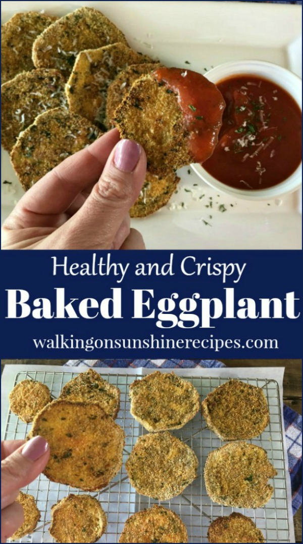 Baked Crisply Eggplant slices dipped in homemade tomato sauce and on baking rack.