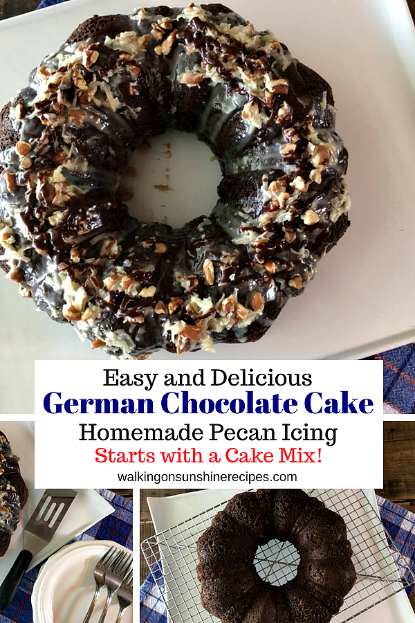 German Chocolate Cake with Homemade Pecan Coconut Icing