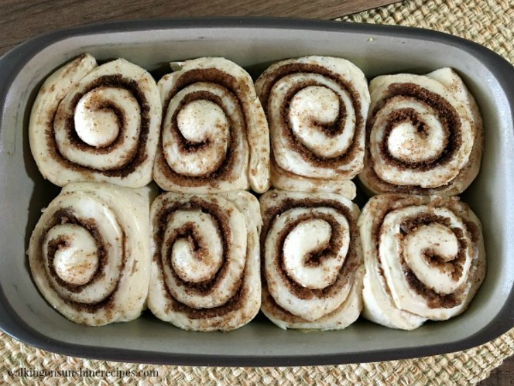 Homemade Cinnamon Rolls risen and ready for the oven from Walking on Sunshine