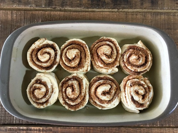 Homemade Cinnamon Rolls in pan ready to rise from Walking on Sunshine