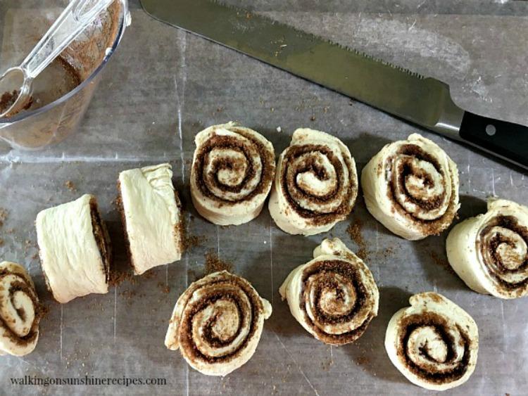 Sliced Cinnamon Rolls made from frozen bread dough from Walking on Sunshine