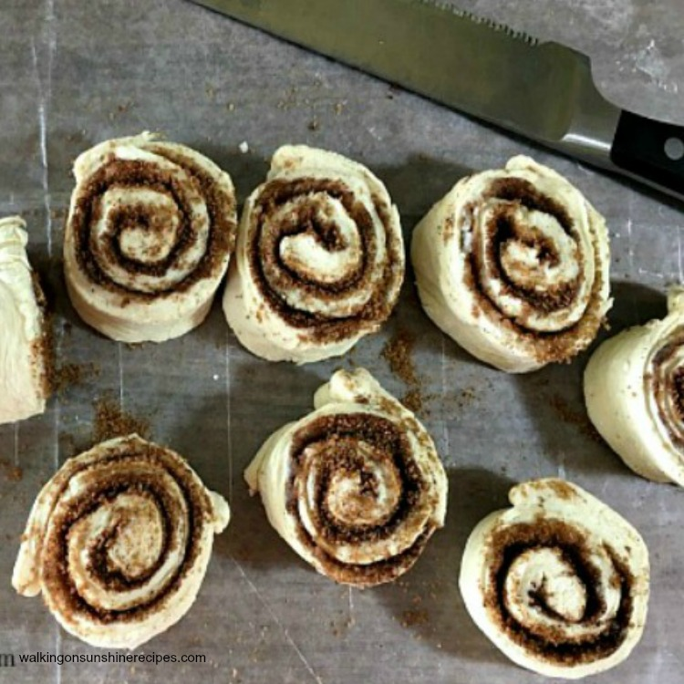 Sliced Cinnamon Rolls made from frozen bread dough from Walking on Sunshine