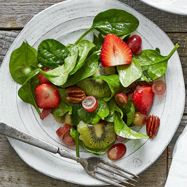 Summer Fruit and Spinach Recipe featured on Walking on Sunshine.
