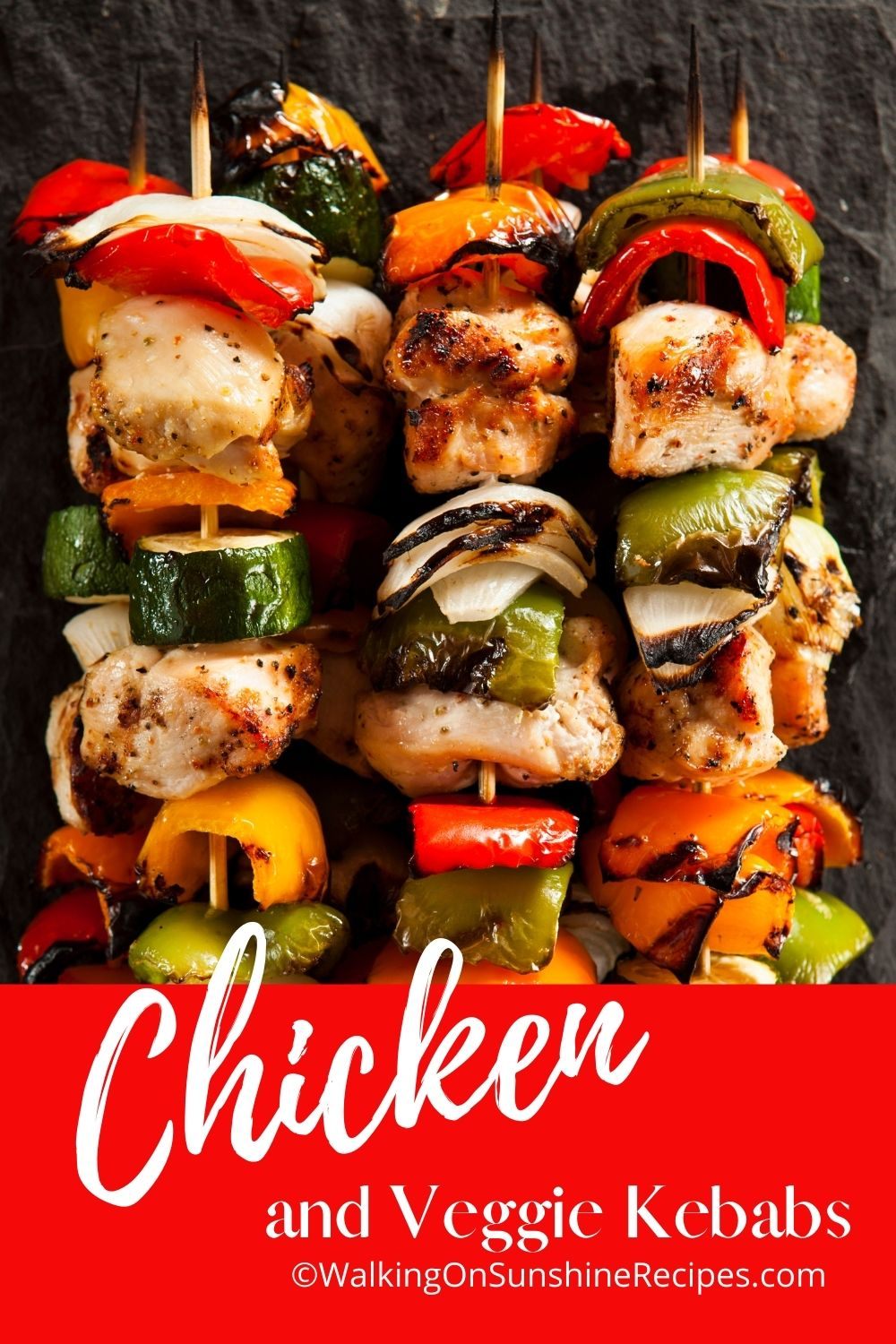 grilled chicken kabobs with vegetables.