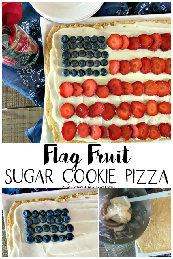 Flag Fruit Sugar Cookie Pizza from Walking on Sunshine Recipes