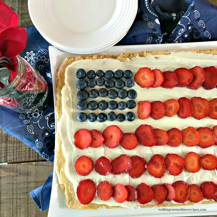 Flag Sugar Cookie Pizza on white tray ready to serve.