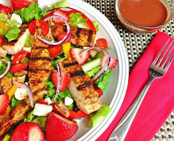 Grilled Chicken Salad with Strawberries from Powered by Mom