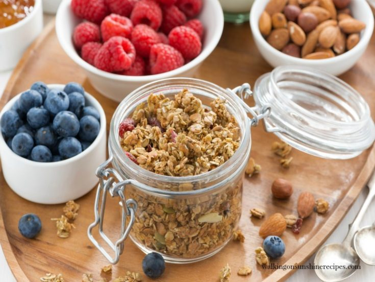 Homemade Stove Top Granola with fruit and nuts from Walking on Sunshine Recipes