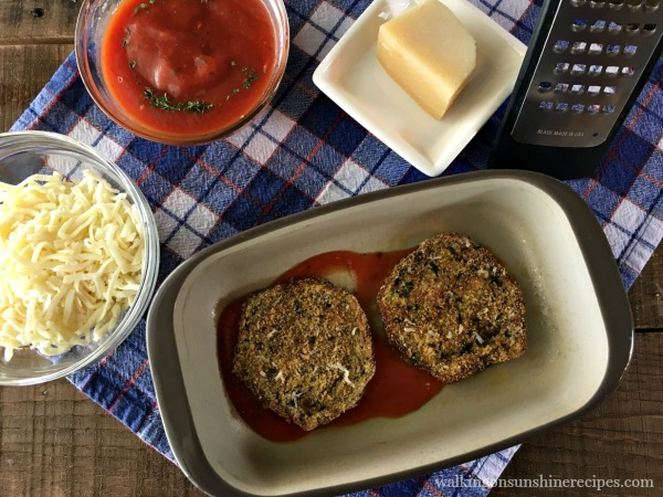 Layer the eggplant slices for Healthy Baked Eggplant Parmesan from Walking on Sunshine
