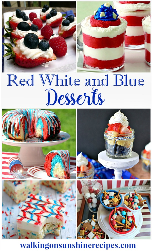 Red, white and blue patriotic desserts