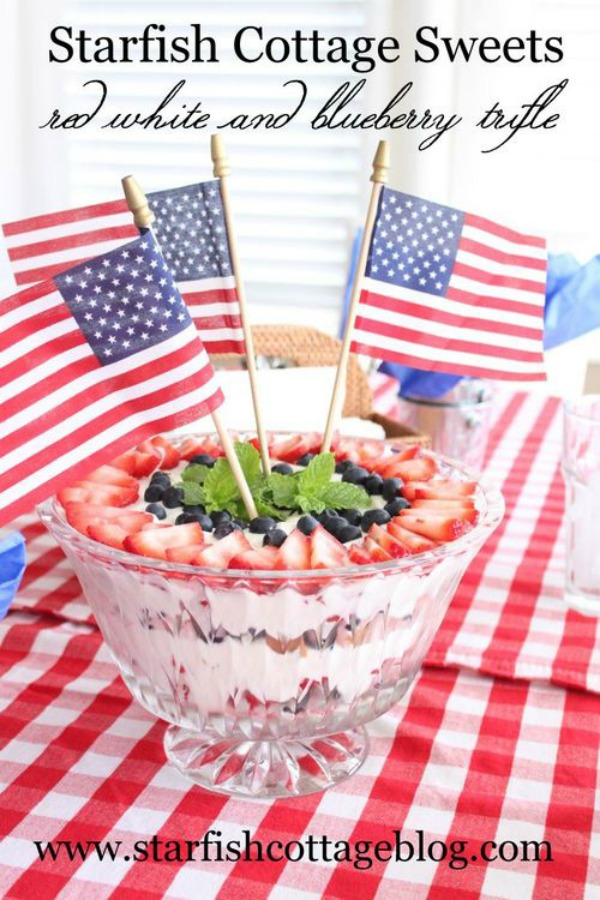 Red White and Blueberry Trifle from Starfish Cottage
