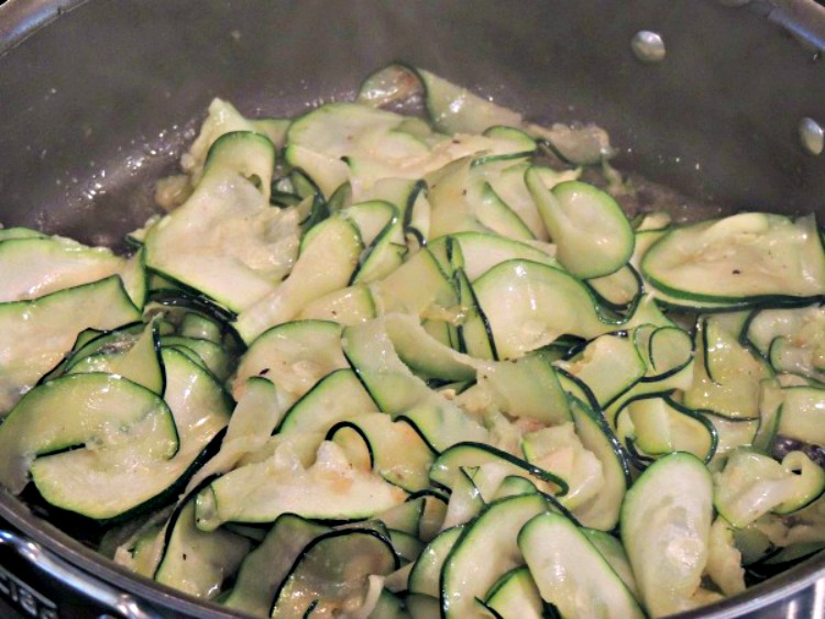 Saute Zucchini in pan with oil and butter