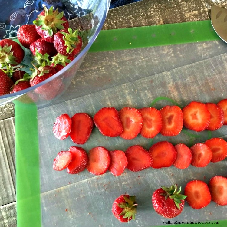 Slice Strawberries on cutting mat