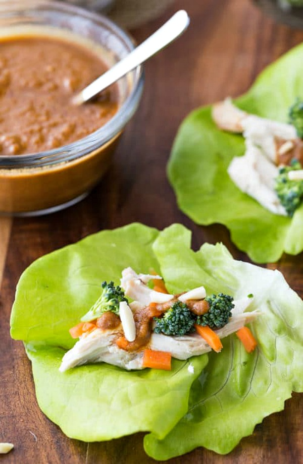 Thai Chicken Lettuce Wraps from The Bewitchin Kitchen