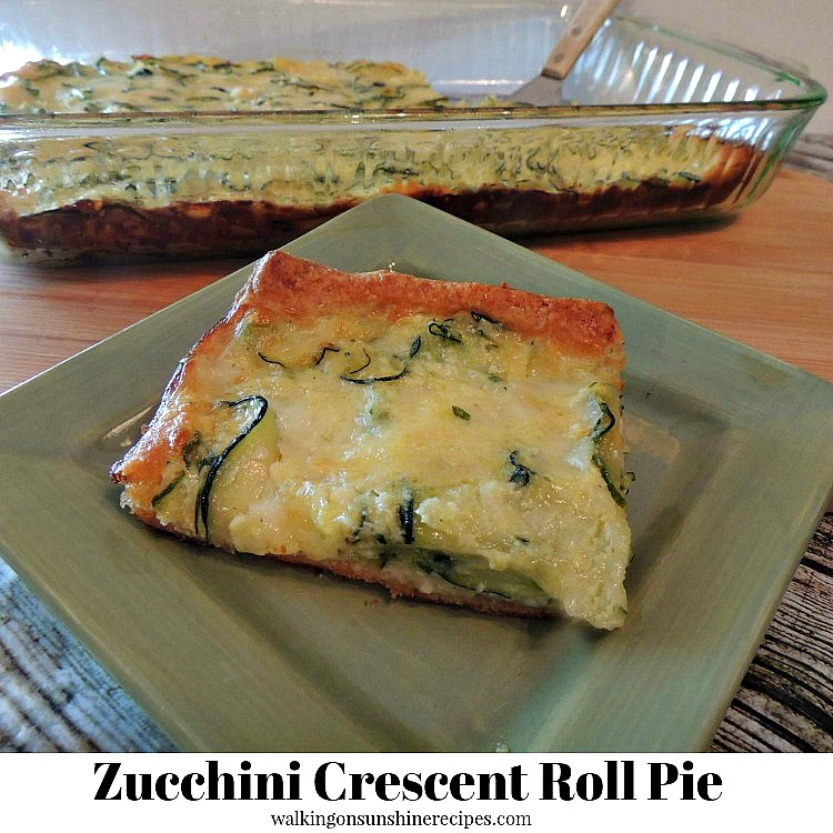 Zucchini Crescent Roll Pie sliced on green plate.