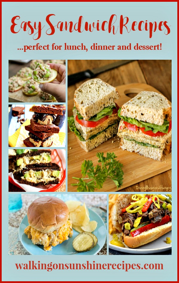 Easy Sandwich Recipes are featured this week for Foodie Friends Friday linky party 257 from Walking on Sunshine.