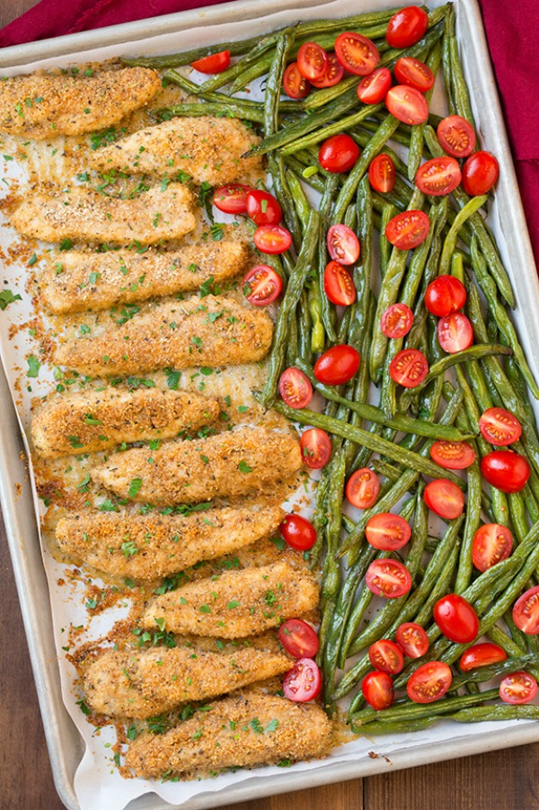 Garlic Parmesan Chicken Tenders and Green Beans from Cooking Classy